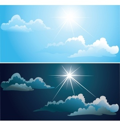 Blue and nightly sky with white clouds vector