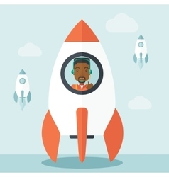 Black guy in on- line business start up vector