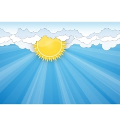 White clouds and sun over blue sky vector