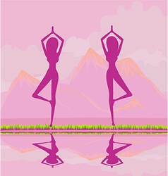 Women in a traditional yoga pose vector
