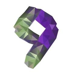 Geometric crystal digit 9 vector