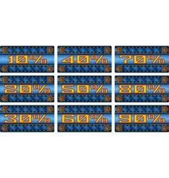 Set of sale percent labels on jeans strip vector