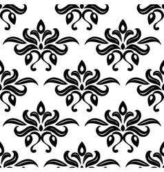 Modern foliate black and white arabesque pattern vector