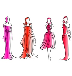 Fashion models in modern beautiful dresses vector