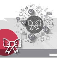 Hand drawn bow icons with icons background vector