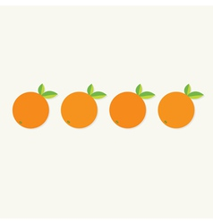 Orange fruit set with leaf row healthy lifestyle vector