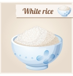 Bowl of white rice detailed icon vector