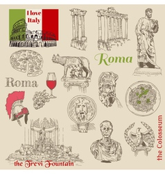 Set of rome doodles vector