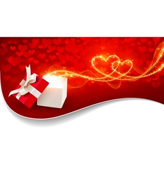 Gift box with magic hearts vector