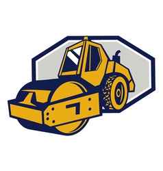 Flat drum road roller retro vector