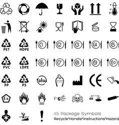 Collection of 45 packaging symbols vector