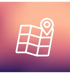 Folded map with pin thin line icon vector