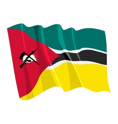 Political waving flag of mozambique vector
