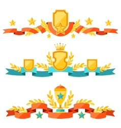 Decor with ribbons and awards in flat design style vector