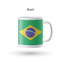 Brazil flag souvenir mug on white background vector