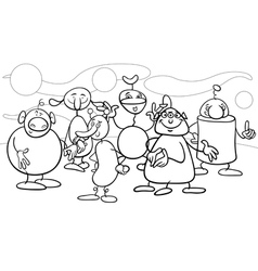 Cartoon fantasy characters coloring page vector
