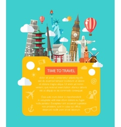 Flat design postcard with famous vector