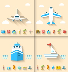 Set banners with flat icons of planning summer vector