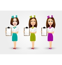 Beautiful waitresses pointing to menu vector