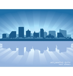 Atlantic city new jersey skyline silhouette vector