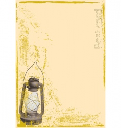 Old postcard with oil lamp vector