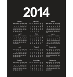 Simple 2014 calendar vector