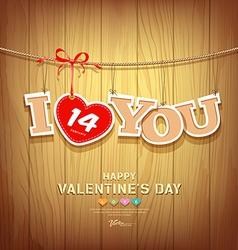 Valentines with text i love you and red ribbons vector