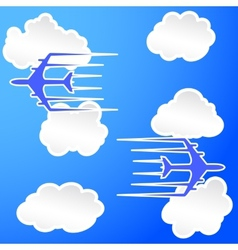 Planes trail in the cloudy sky vector