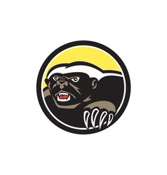 Honey badger claws side circle retro vector