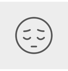 Tired face thin line icon vector