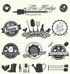 Retro gardening labels and icons vector