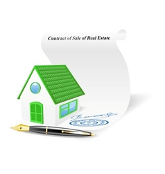 House with contract of sale of real estate vector