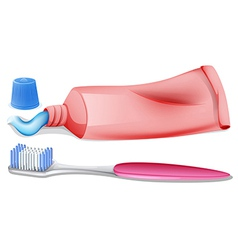 A toothbrush and a toothpaste vector