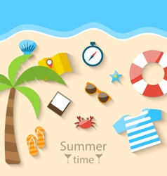 Summer time background with flat set colorful vector