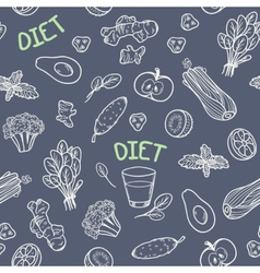 Chalk style vegetables seamless pattern vector