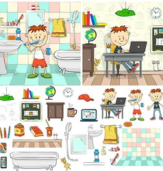 Boy in bathroom boy with laptop vector