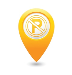 No parking symbol map pointer yellow vector