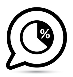 Bubble with pie graph icon vector