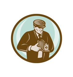 Photographer aiming retro vintage camera vector