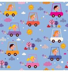 Cute kids driving cars pattern vector
