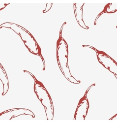 Outline seamless pattern with hand drawn chili vector