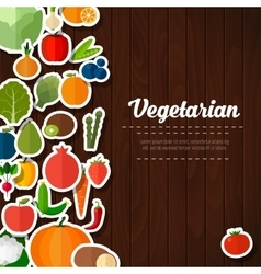 Fruits and vegetables background vector