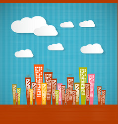 Abstract retro paper city with clouds vector