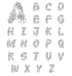 Flowers alphabet letters vector