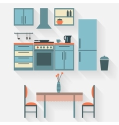 Kitchen with furniture vector