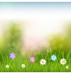 Background with sky grass and flowers vector