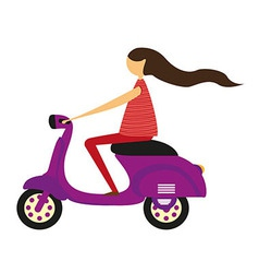 Girl over motorbike vector