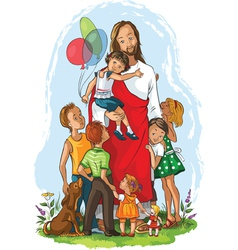 Jesus with children vector