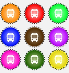 Bus icon sign a set of nine different colored vector