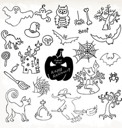 Sketch doodle halloween icon set hand draw vector